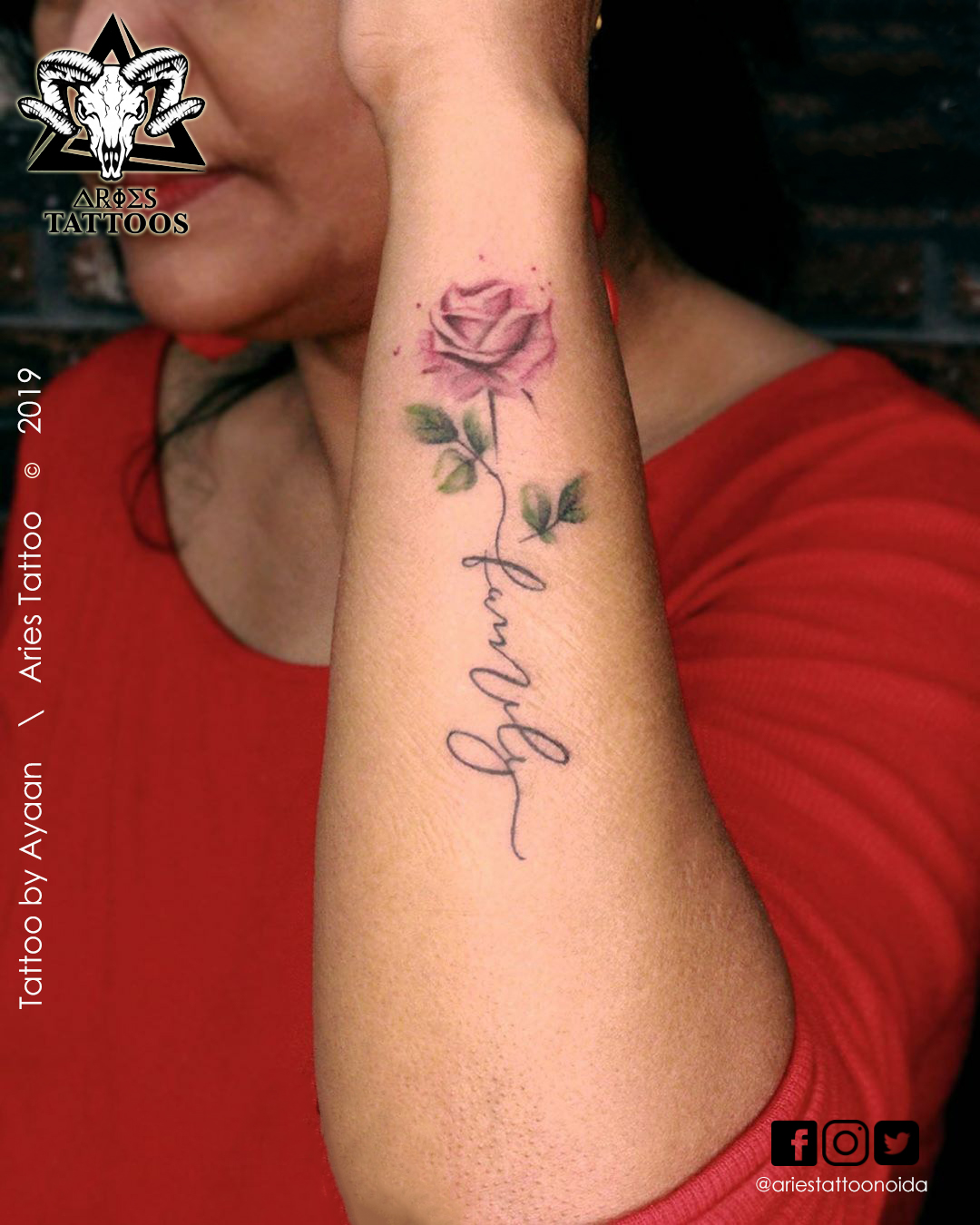 rose tattoo by ayaan | |Aries Tattoo Noida | Tattoo Shop and Studio In Noida