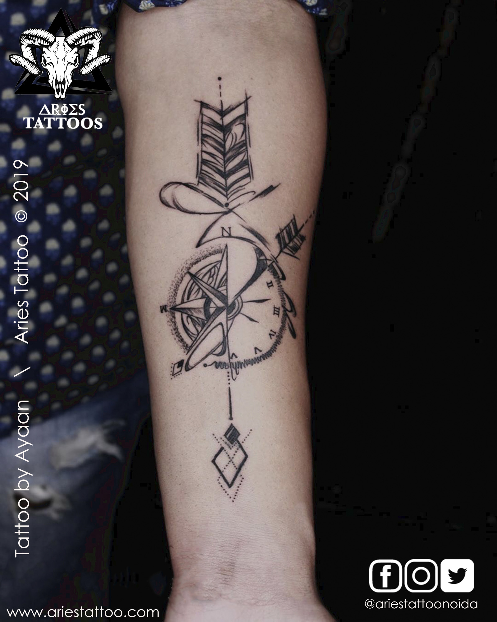 Compass with arrow tattoo |Aries Tattoo Noida | Tattoo Shop and Studio In Noida |