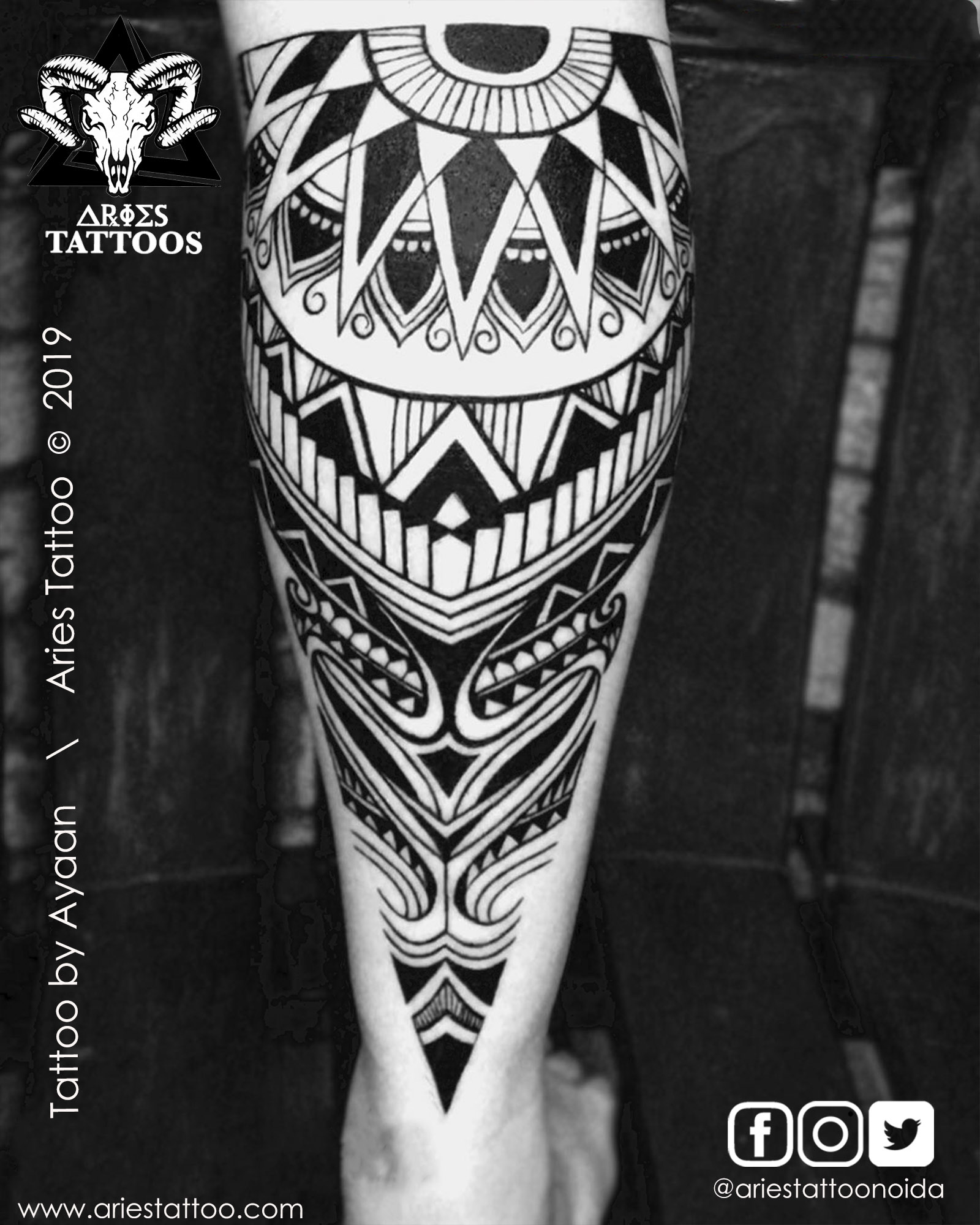 full leg tribal tattoo ayaan |Aries Tattoo Noida | Tattoo Shop and Studio In Noida