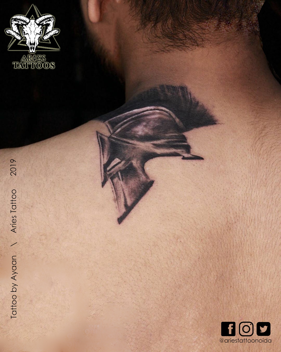 Warrior Head Tattoo By ayaan | |Aries Tattoo Noida | Tattoo Shop and Studio In Noida