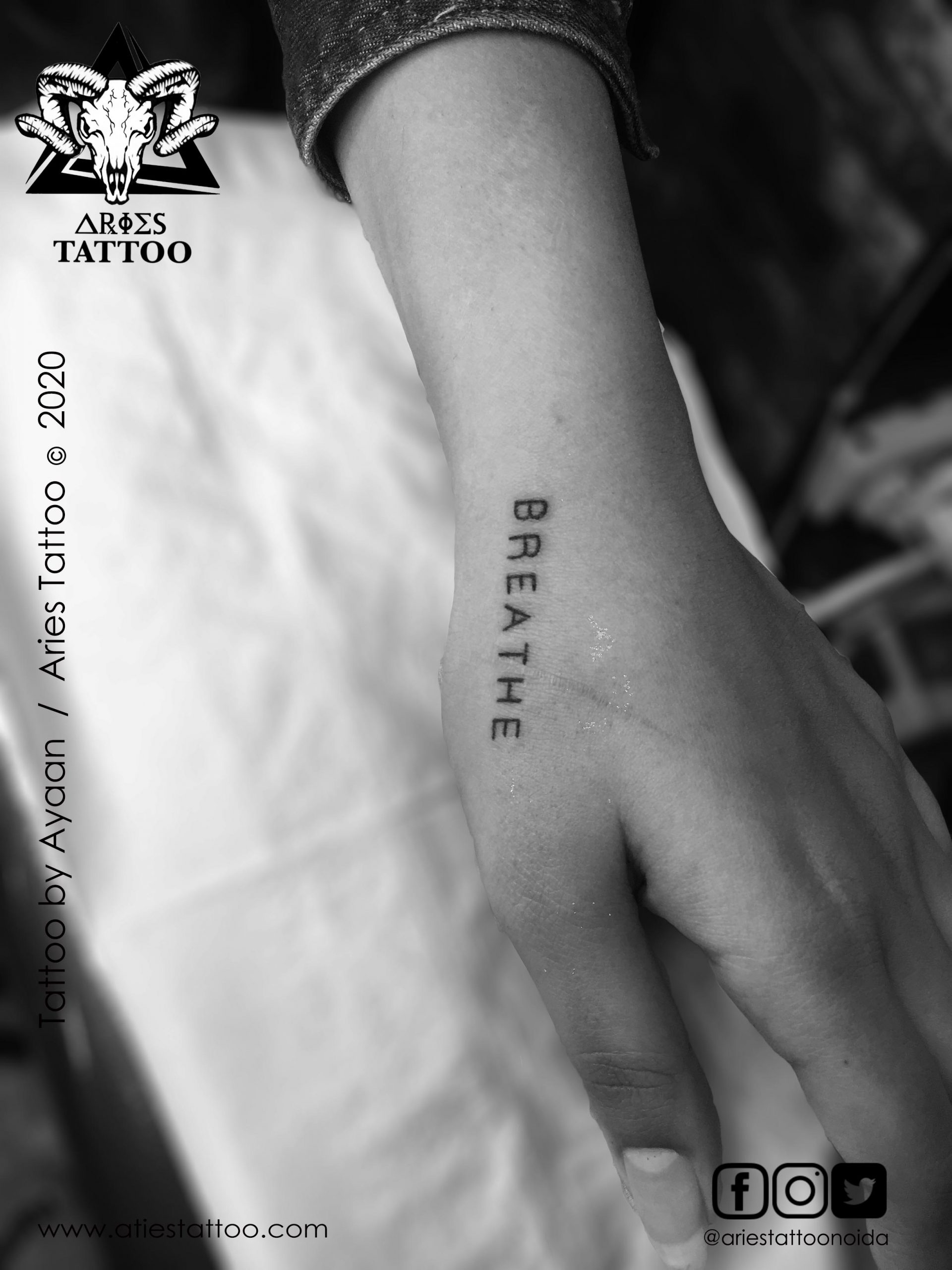Breath Scripted Tattoo |Aries Tattoo Noida | Tattoo Shop and Studio In Noida