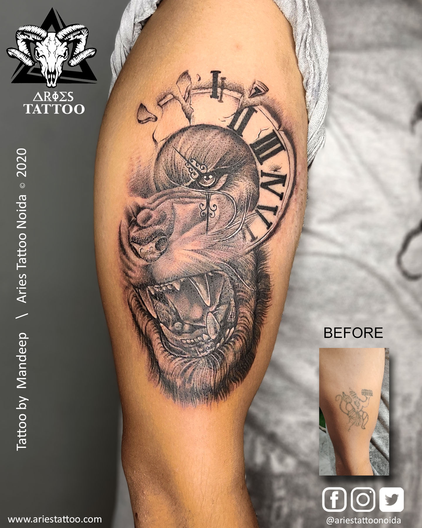 Coverup lion tattoo_mandeep |Aries Tattoo Noida | Tattoo Shop and Studio In Noida
