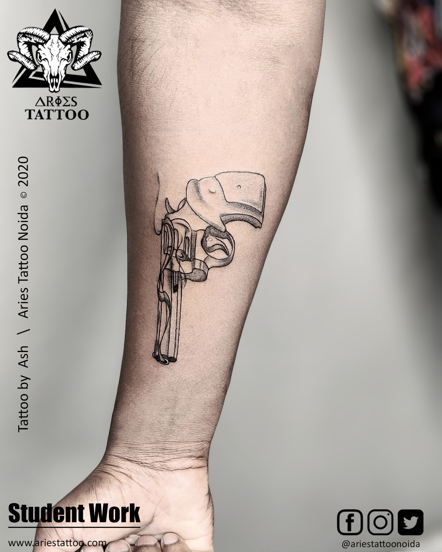 Gun tattoo_Ash_|Aries Tattoo Noida | Tattoo Shop and Studio In Noida