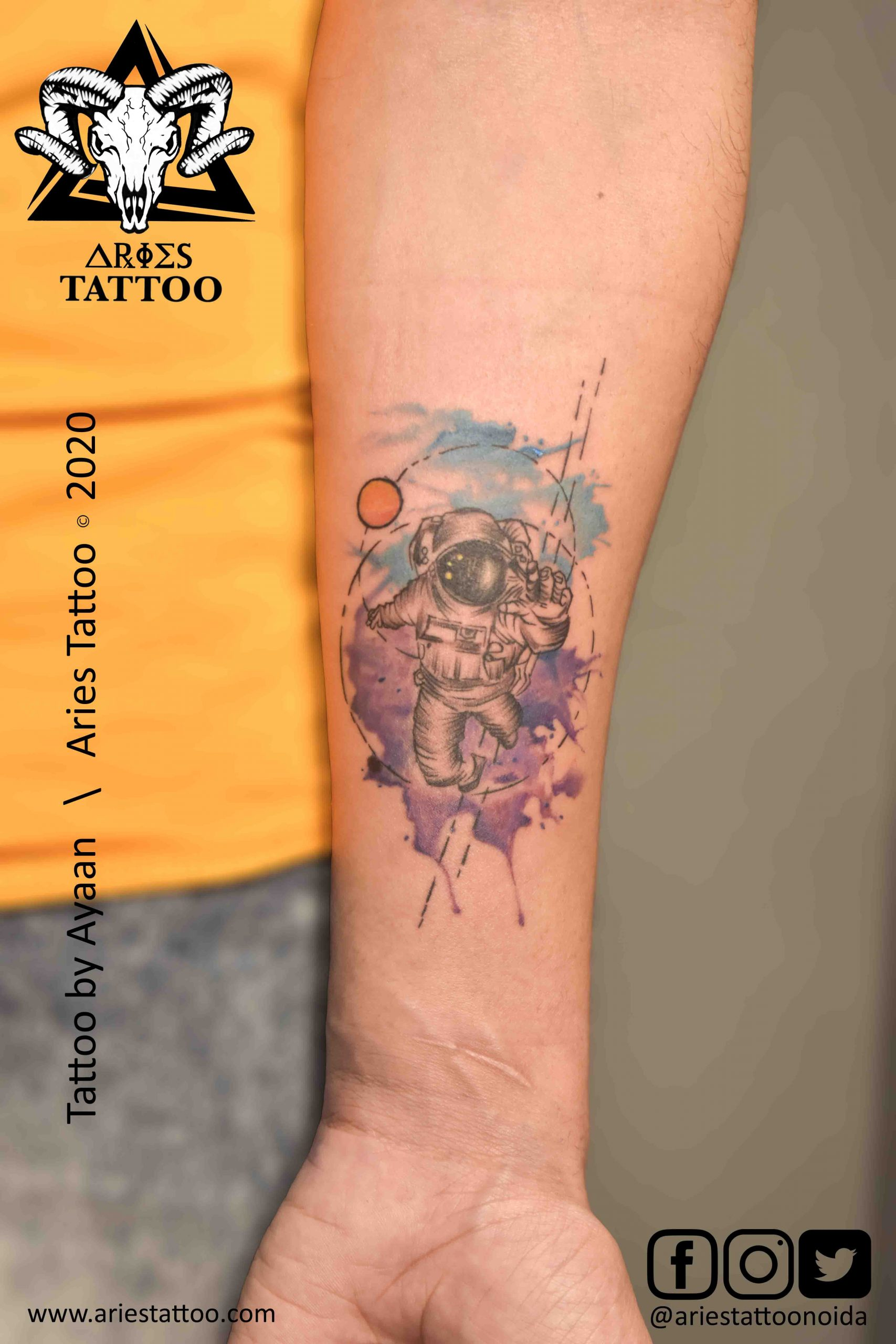 astronaut tattoo by ayaan |Aries Tattoo Noida | Tattoo Shop and Studio In Noida