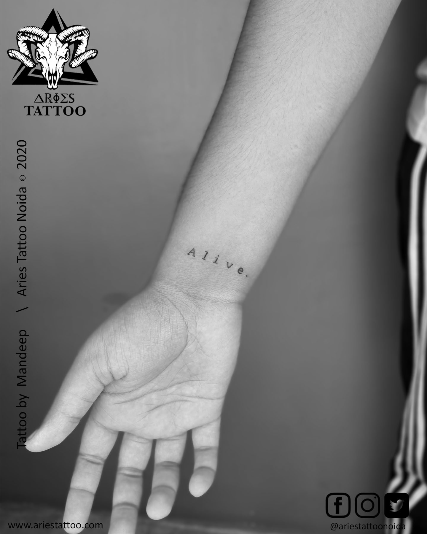 alive scripttattoo_mandeep |Aries Tattoo Noida | Tattoo Shop and Studio In Noida |