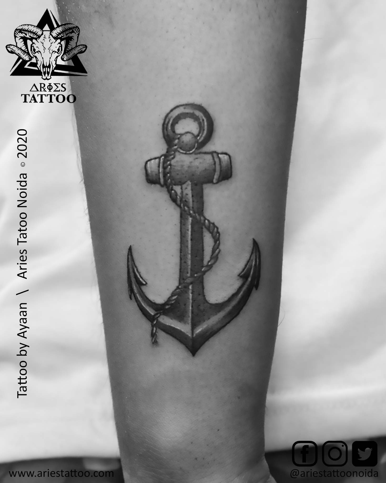 anchor tattoo by mandeep |Aries Tattoo Noida | Tattoo Shop and Studio In Noida