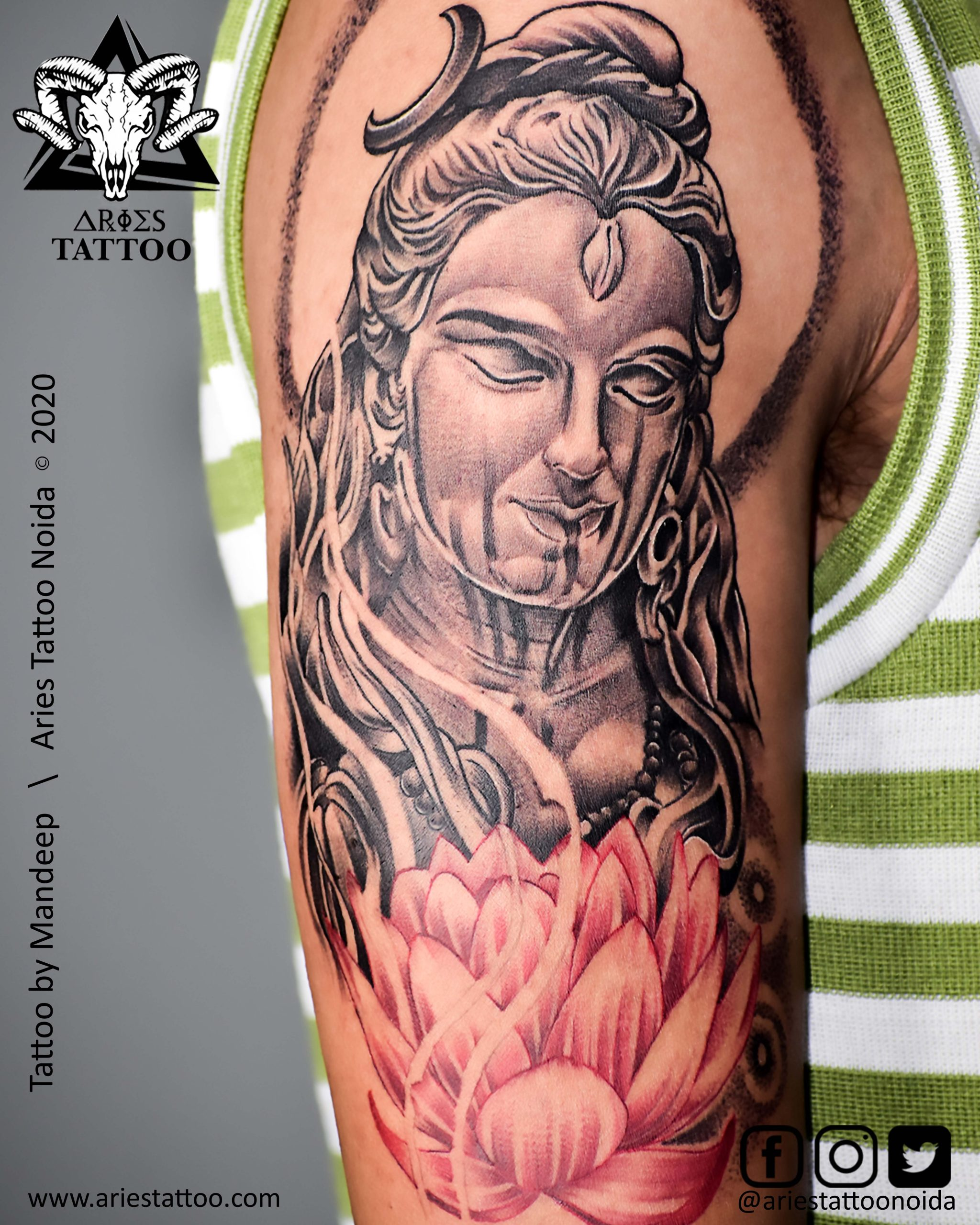 Lord Shiva Tattoo By Mandeep |Aries Tattoo Noida | Tattoo Shop and Studio In Noida