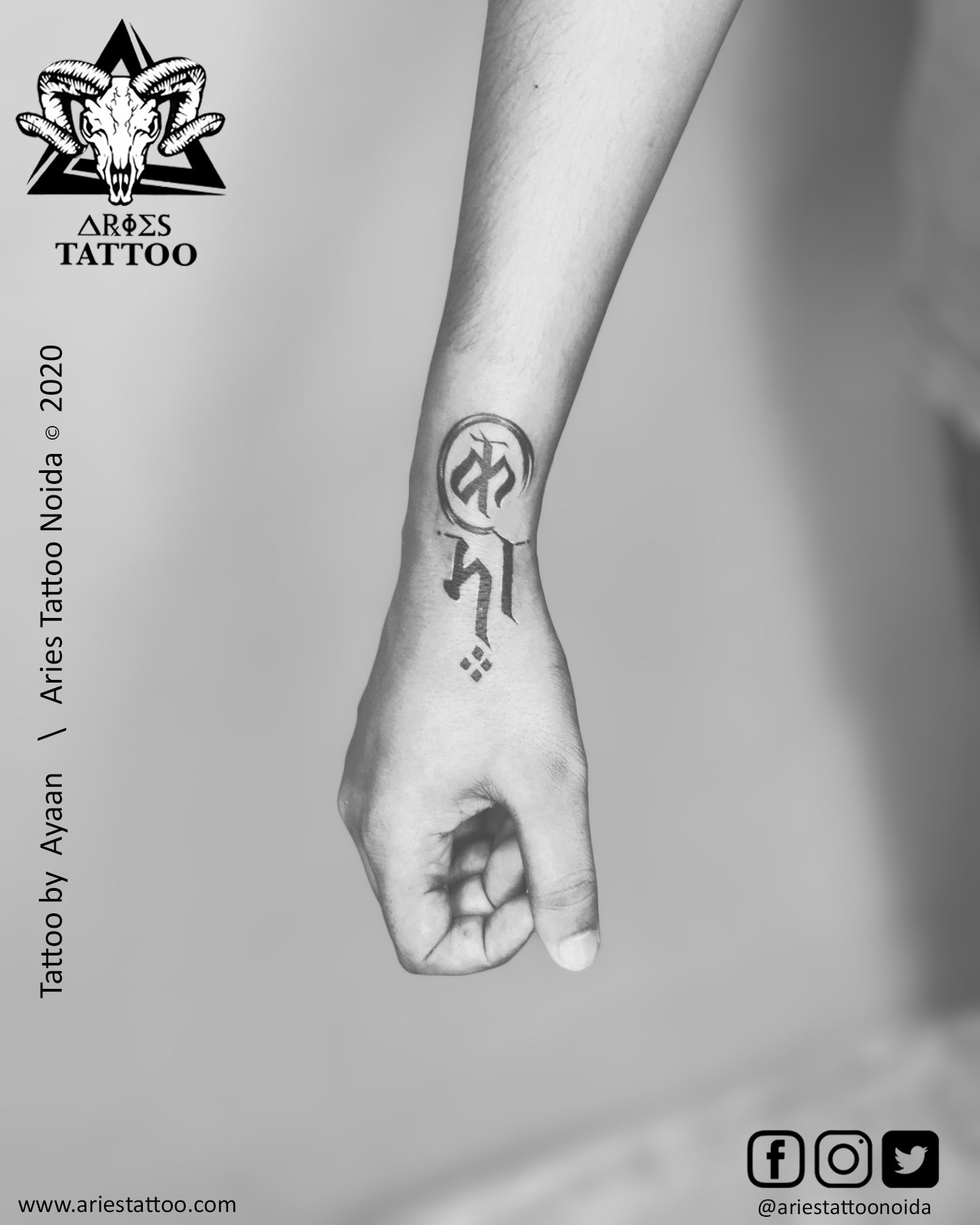 customised karma tattoo_ayaan |Aries Tattoo Noida | Tattoo Shop and Studio In Noida