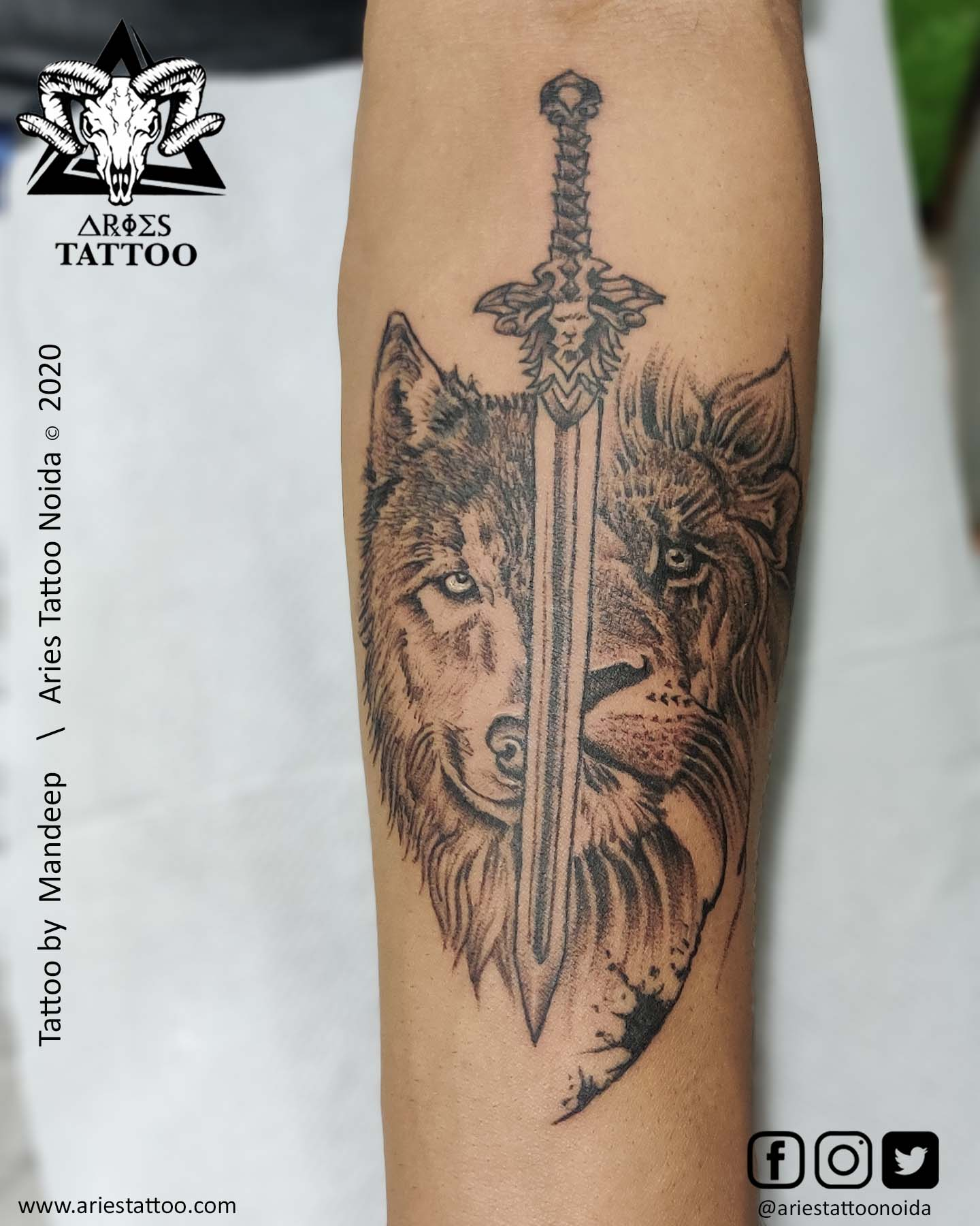 customised wolf and lion with sword tattoo_mandeep |Aries Tattoo Noida | Tattoo Shop and Studio In Noida