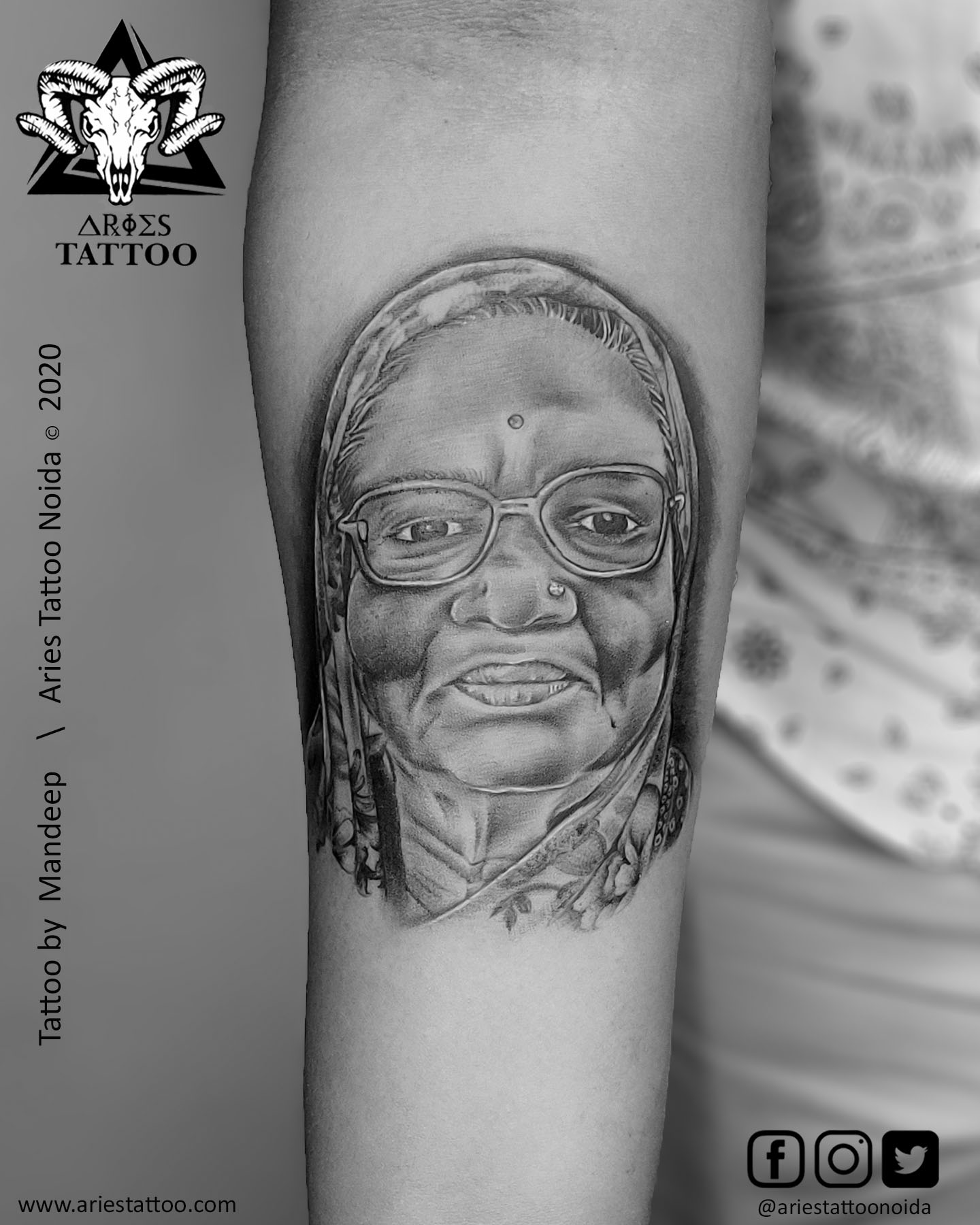 daadi maa`s portrait tattooo |Aries Tattoo Noida | Tattoo Shop and Studio In Noida