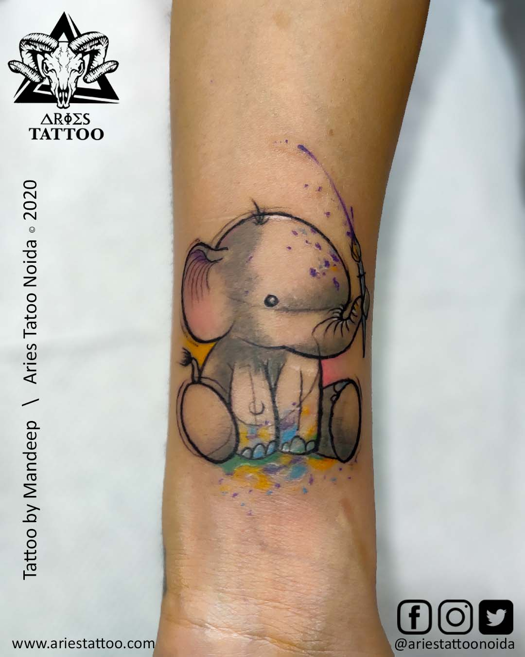 little elephant tattoo | |Aries Tattoo Noida | Tattoo Shop and Studio In Noida