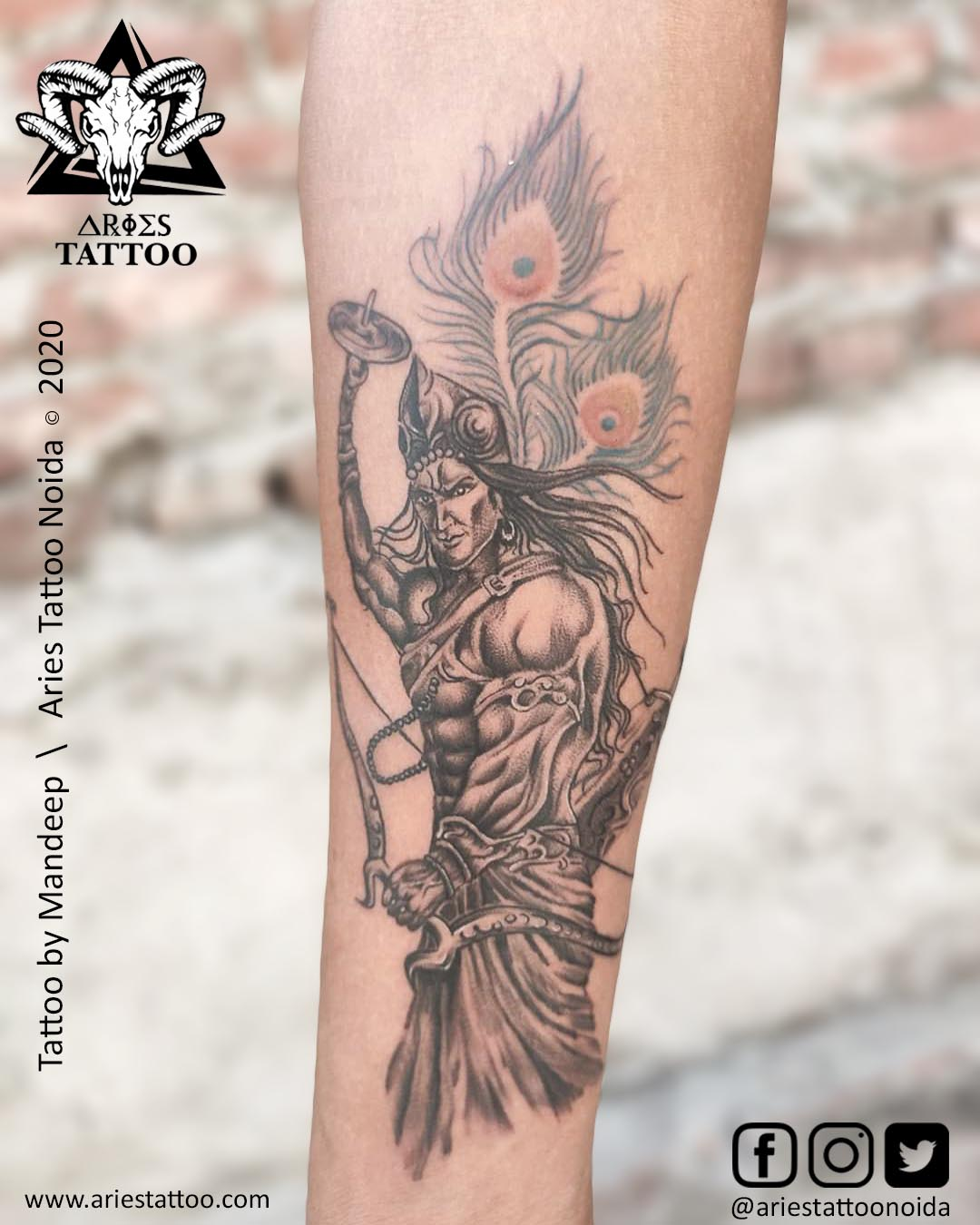 lord krishna tattoos_mandeep|Aries Tattoo Noida | Tattoo Shop and Studio In Noida