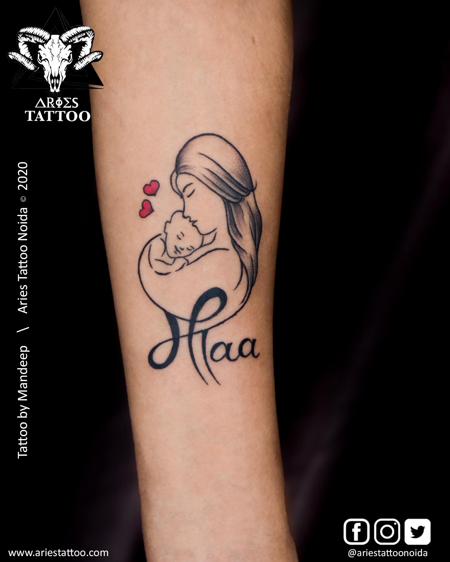 maa paa tattoo_Mandeep_|Aries Tattoo Noida | Tattoo Shop and Studio In Noida