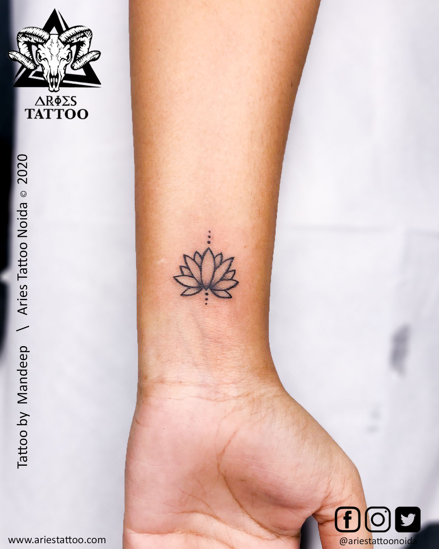 minimal lotus tattoo_mandeep_ariestattoonoida | |Aries Tattoo Noida | Tattoo Shop and Studio In Noida