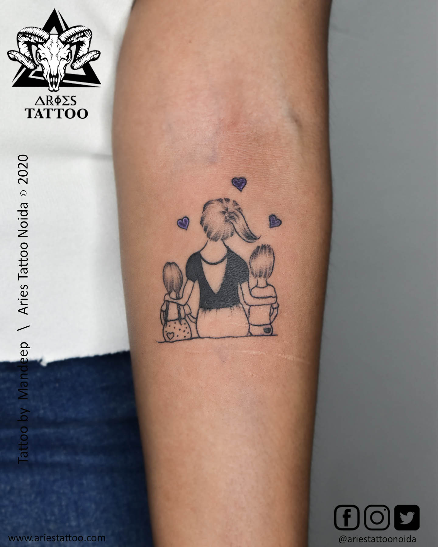 Mother Love Tattoo |Aries Tattoo Noida | Tattoo Shop and Studio In Noida