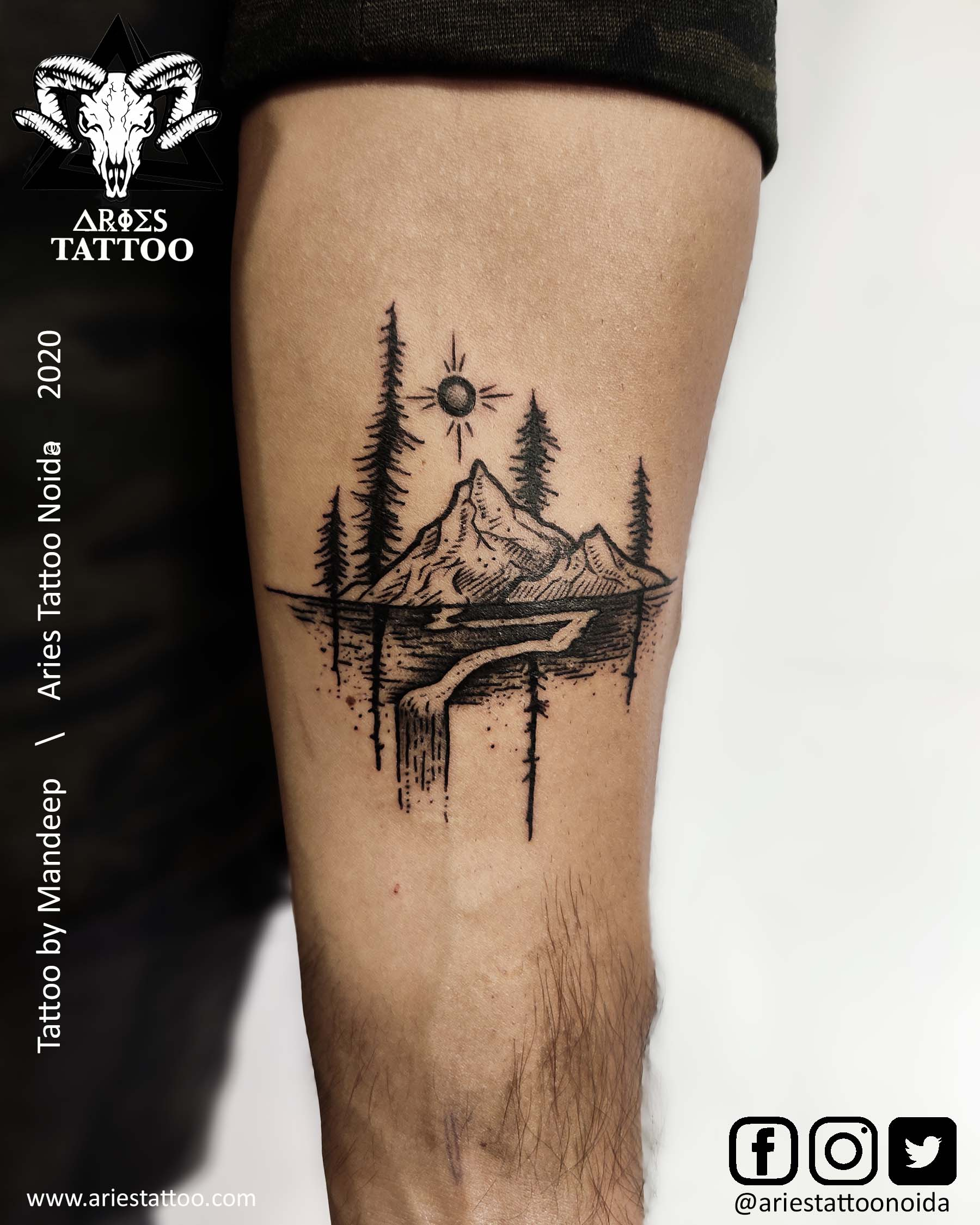 mountain tattoos by mandeep | |Aries Tattoo Noida | Tattoo Shop and Studio In Noida