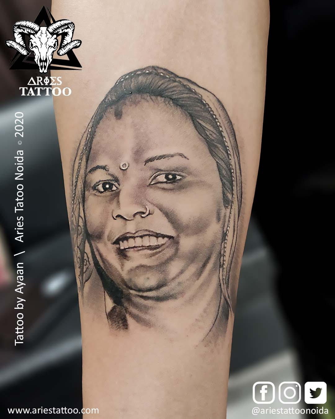 portraittattoo_ayaan_ariestattoonoida | |Aries Tattoo Noida | Tattoo Shop and Studio In Noida