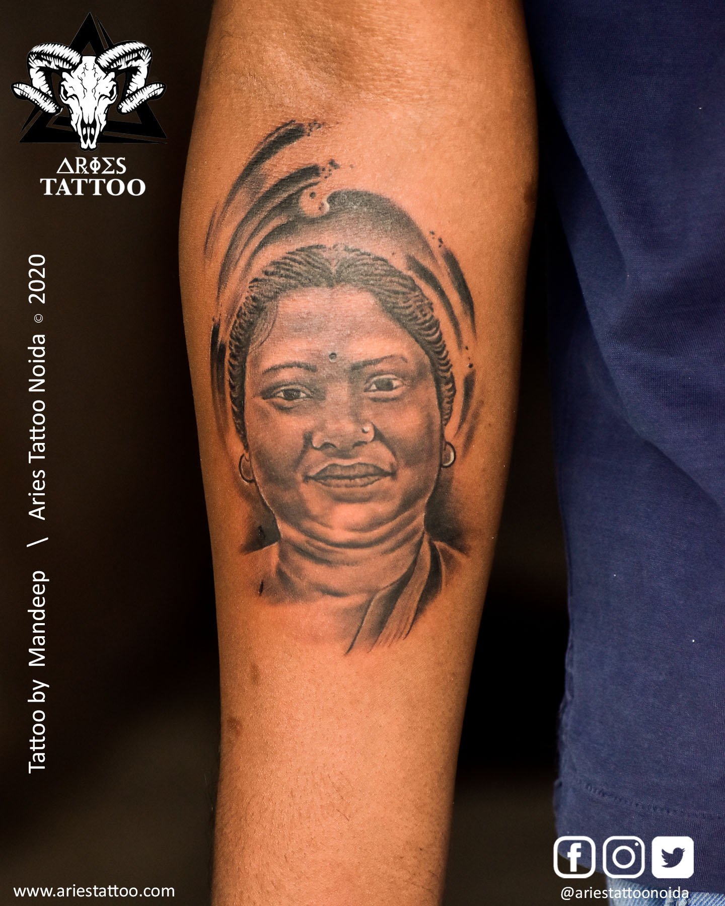 portraittattoo_mandeep_ariestattoonoida | |Aries Tattoo Noida | Tattoo Shop and Studio In Noida