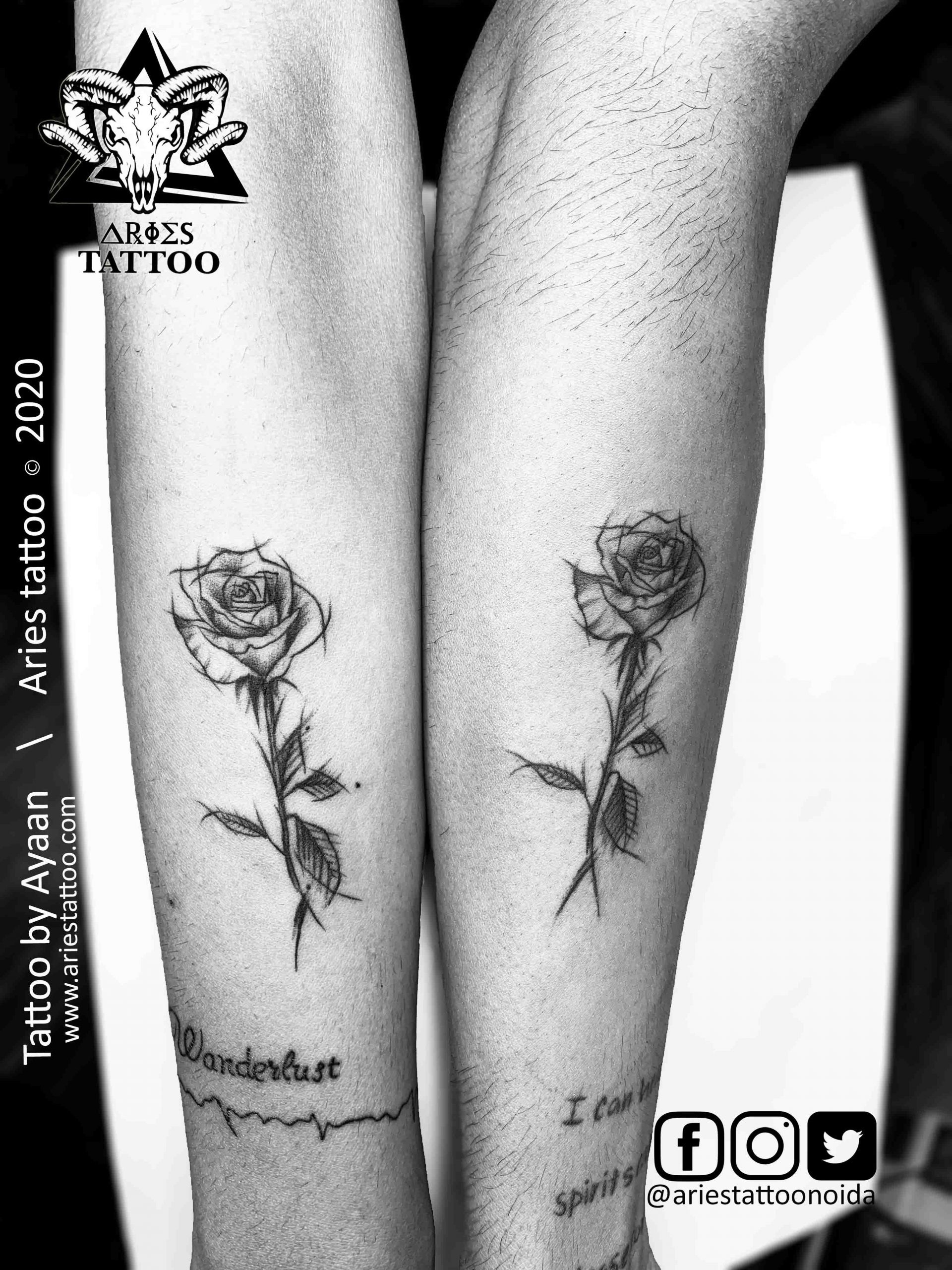 Rose Tattoo|Aries Tattoo Noida | Tattoo Shop and Studio In Noida