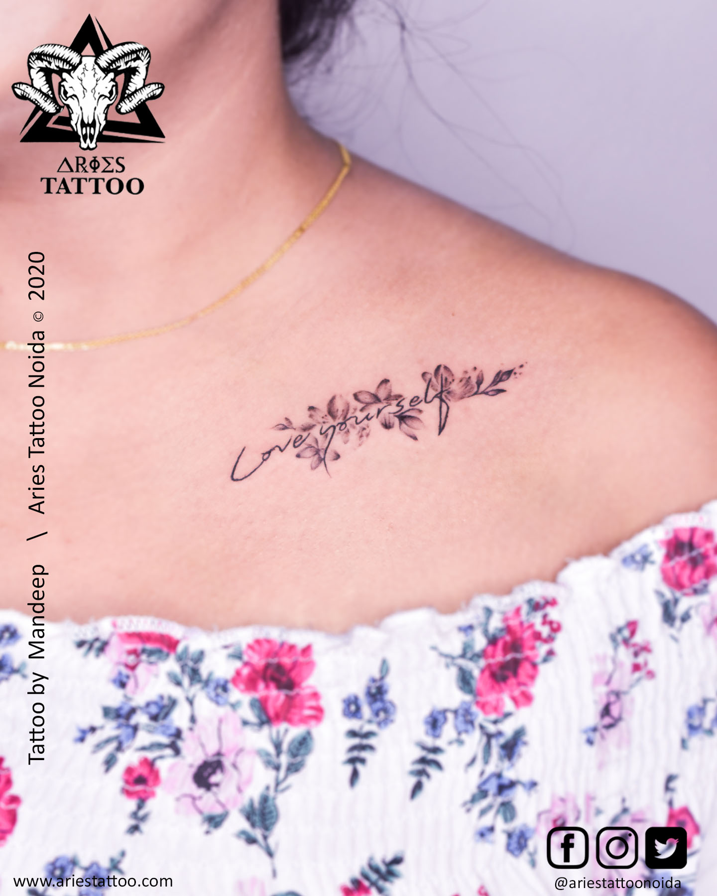 script with flower tattoo_mandeep_ariestattoonoida | |Aries Tattoo Noida | Tattoo Shop and Studio In Noida