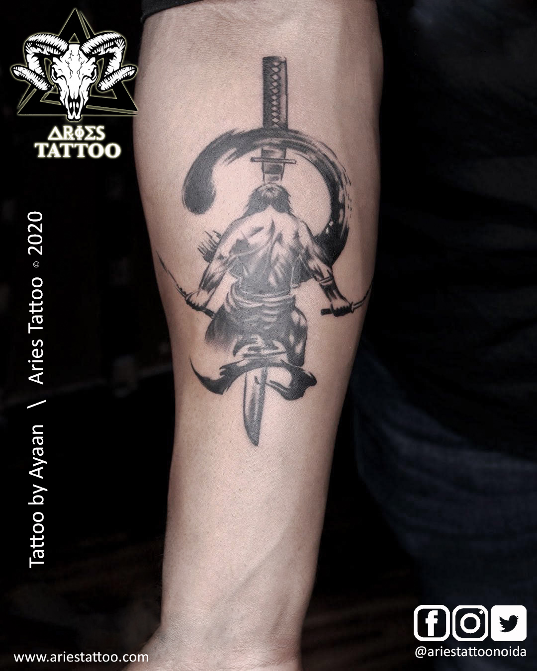warriors tattoo sword ayaan | |Aries Tattoo Noida | Tattoo Shop and Studio In Noida