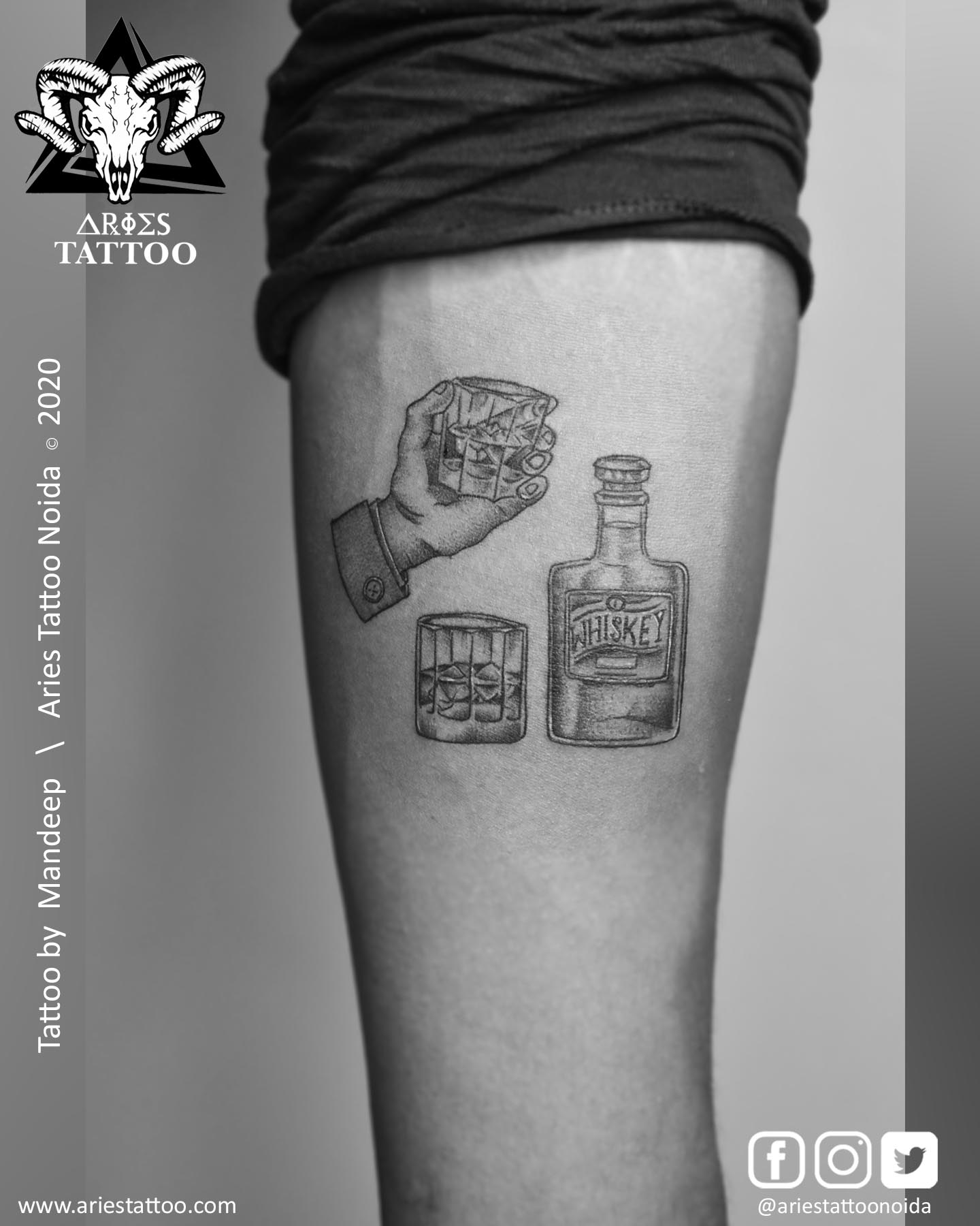 whisky tattoo_mandeep_ariestattoonoida | |Aries Tattoo Noida | Tattoo Shop and Studio In Noida