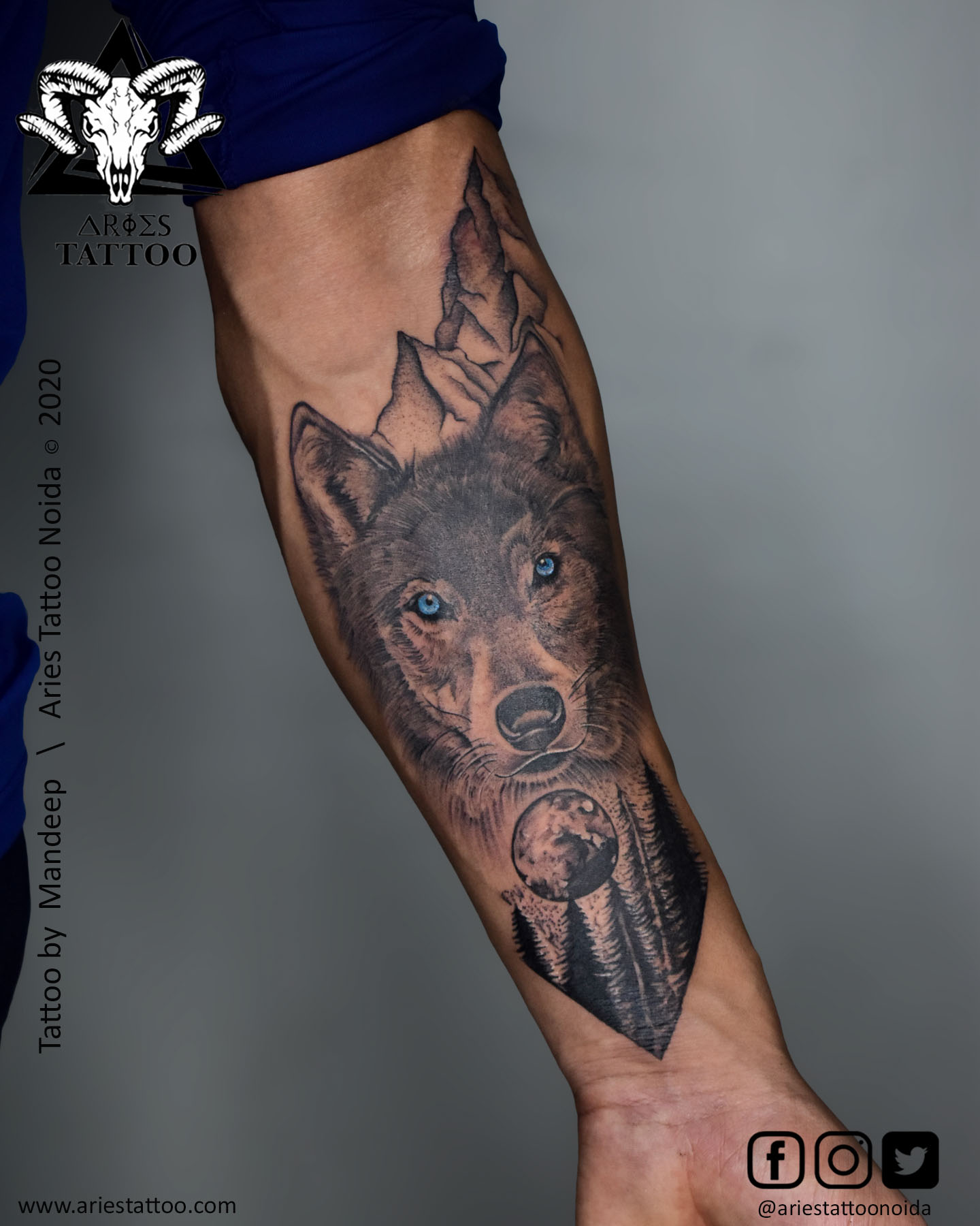 Wild wolf with moon forest tattoo_mandeep|Aries Tattoo Noida | Tattoo Shop and Studio In Noida