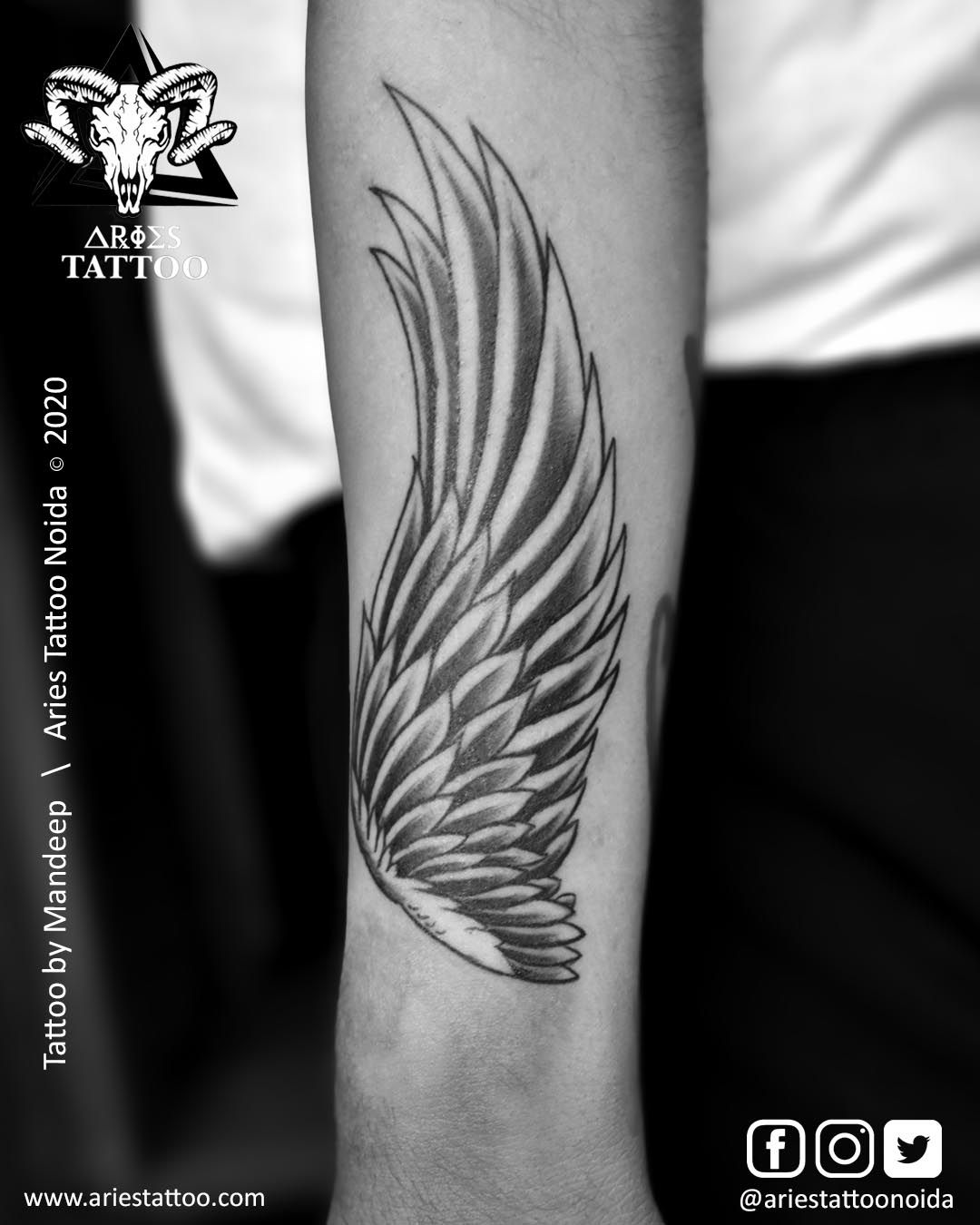 Wings Tattoo by Mandeep |Aries Tattoo Noida | Tattoo Shop and Studio In Noida