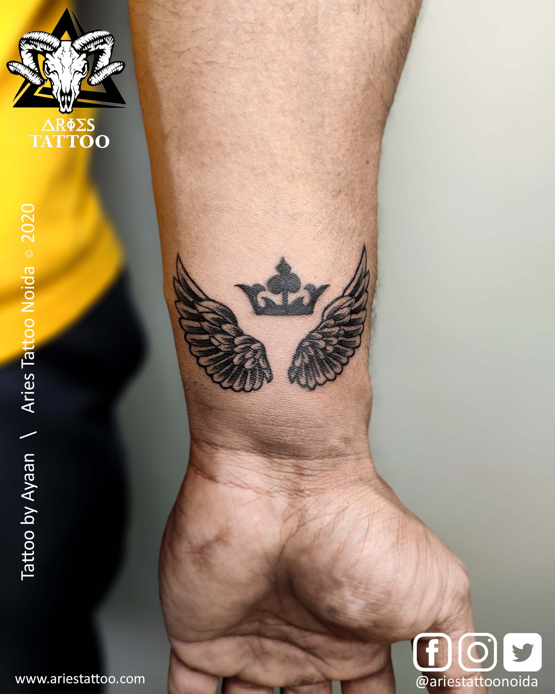 Wings Tattoo by Ayaan |Aries Tattoo Noida | Tattoo Shop and Studio In Noida