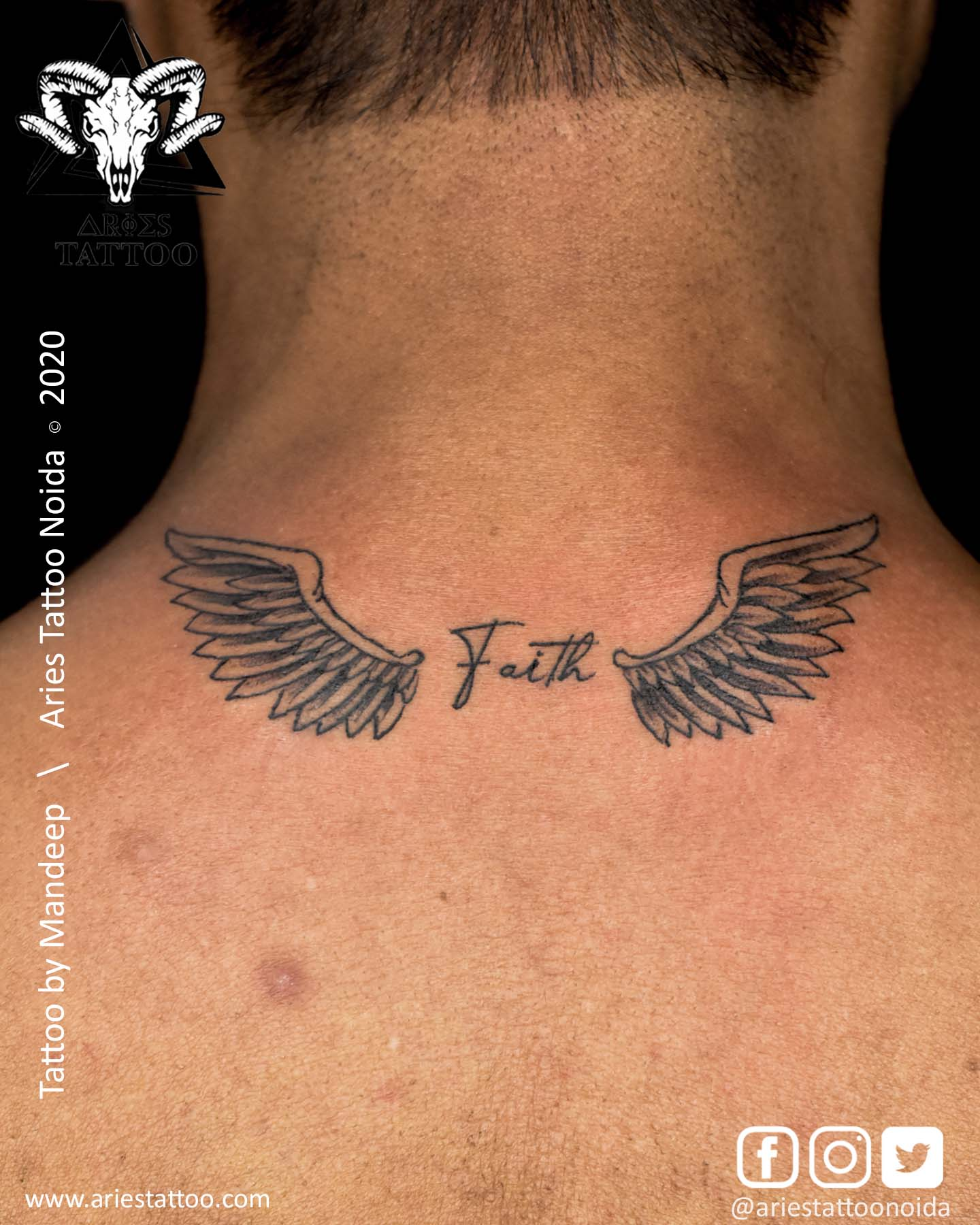 Wings Tattoo with initial by Ayaan |Aries Tattoo Noida | Tattoo Shop and Studio In Noida